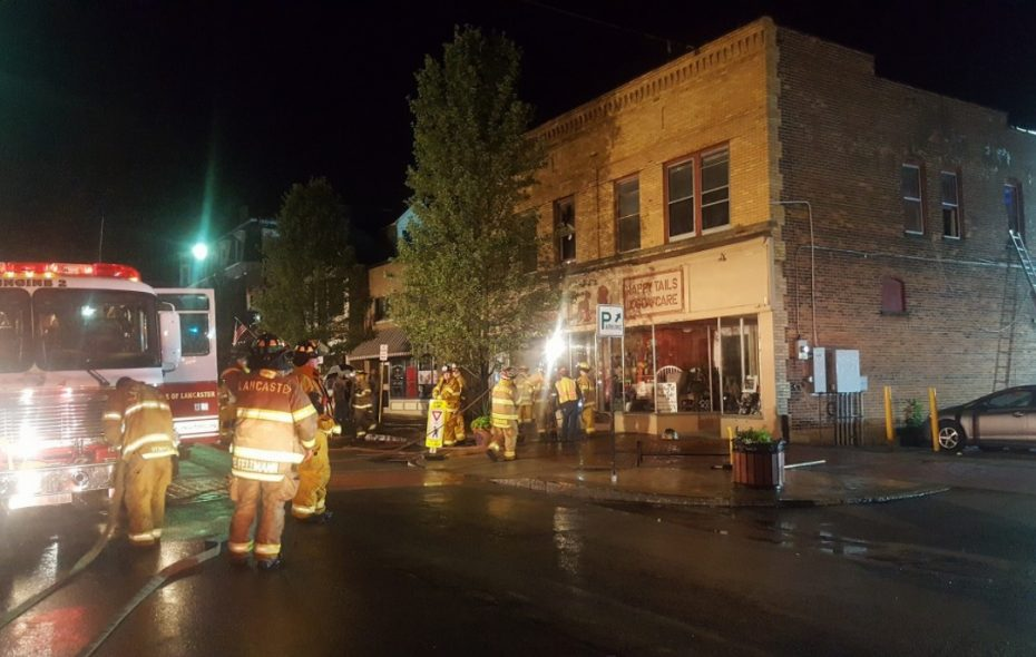 An apartment on the second floor of 34 Central Ave. was heavily damaged in a fire Thursday morning.  (Lancaster Fire Department)