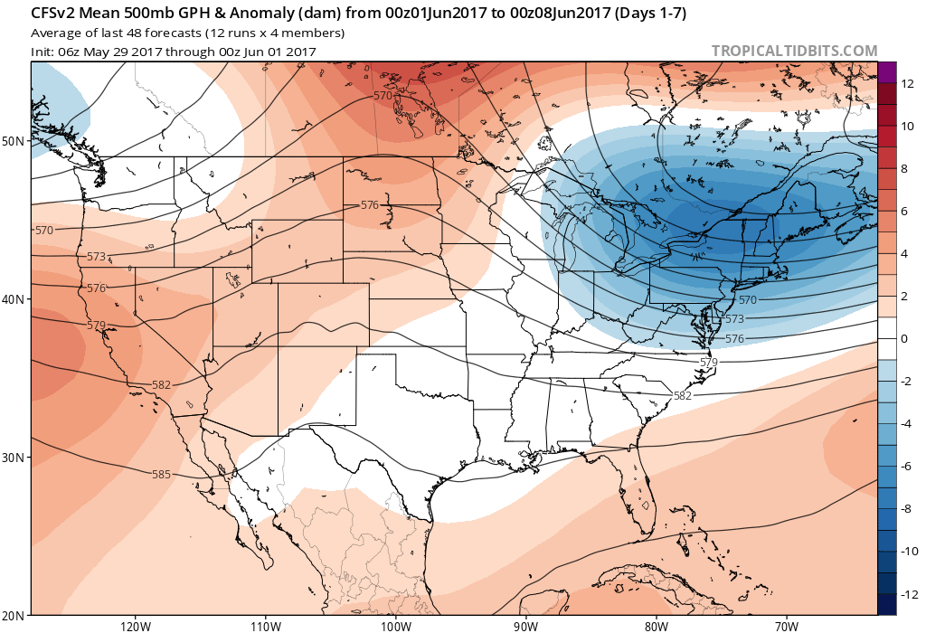 Chilly air is expected to be trapped over the Northeast through at least the first week or two of June. (TropicalTidbits.com)