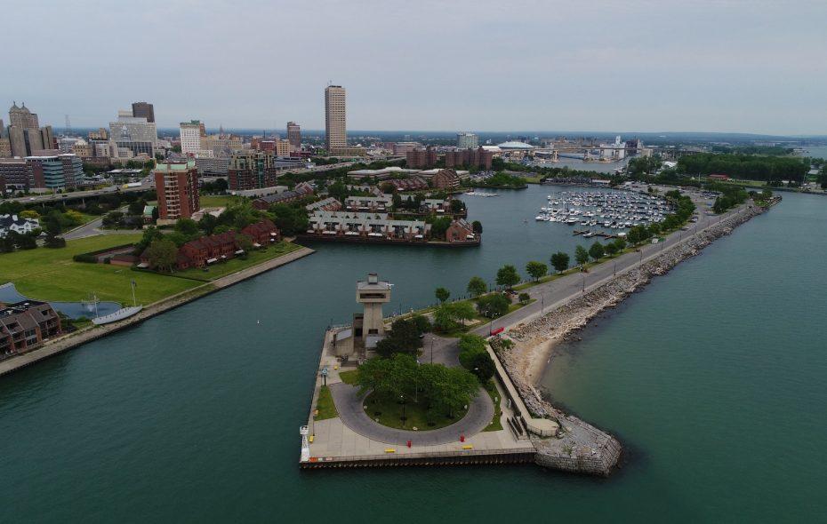 A drone's eye view of Buffalo and its waterfront. (Buffalo News file photo)