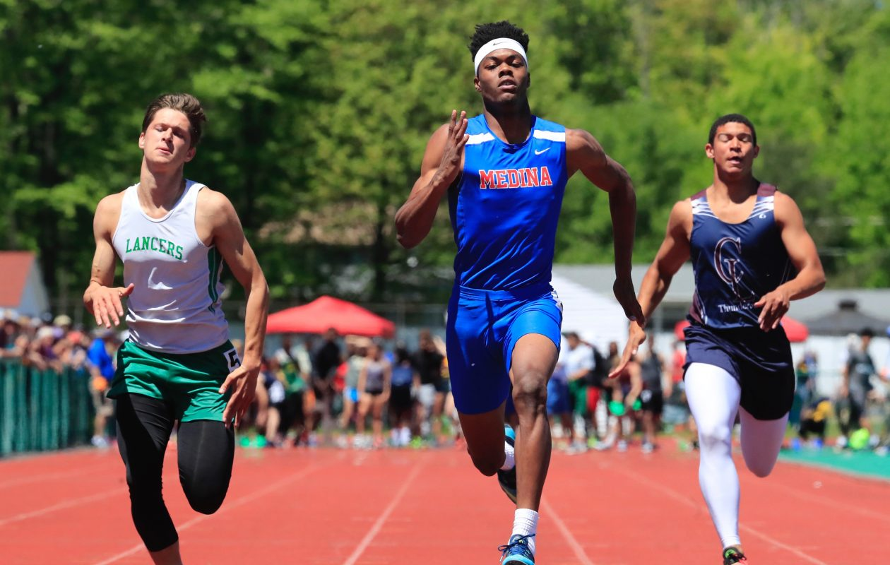 Medina junior Jalin Cooper was a double-winner in the 100 and 200 meters at the Section VI Championships on Saturday. (Harry Scull Jr./Buffalo News)