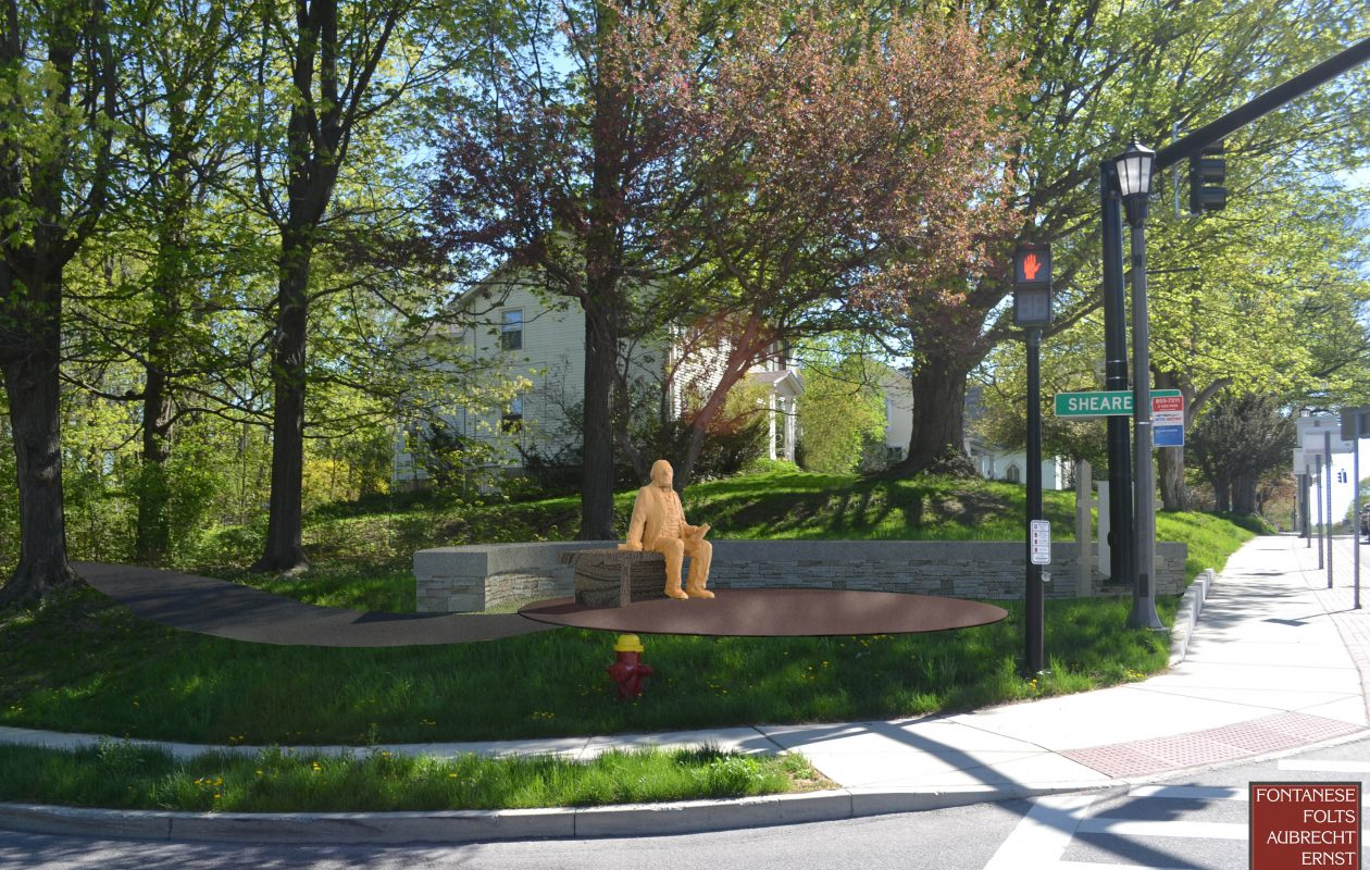 The Aurora Historical Society has commissioned a bronze sculpture of President Millard Fillmore sitting on a bench to be erected on a street corner in East Aurora near the Millard Fillmore House. This concept of the sculpture was produced for the historical society by Fontanese Folts Aubrecht Ernst Architects.  (Provided photo)