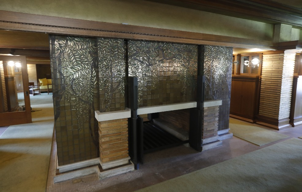 The fireplace in the reception room at the Darwin Martin House. (John Hickey/Buffalo News)