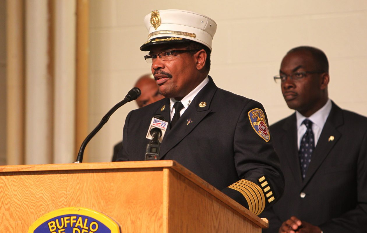 Buffalo Fire Commissioner Garnell Whitfield Jr. and Mayor Brown, pictured in 2013. (Sharon Cantillon/Buffalo News)