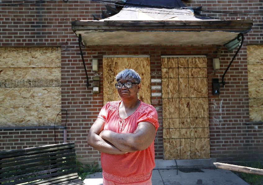 Commodore Perry tenant council President Dorothy Flakes says Rep. Brian Higgins' redevelopment plan is not for Perry residents, who feel like 'the forgotten people.' (Mark Mulville/Buffalo News)