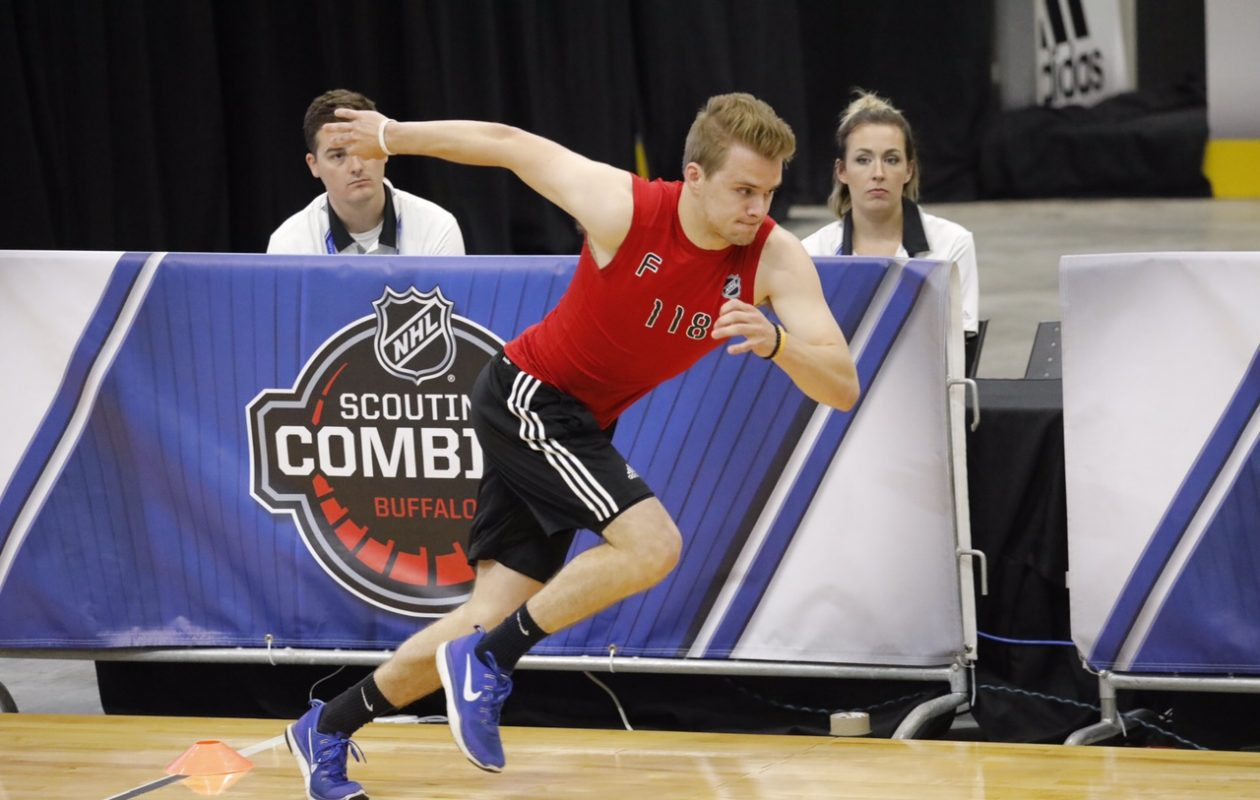Grant Mismash of the U.S. National Team Development Program works out Saturday at the NHL Scouting Combine in HarborCenter. (Derek Gee/Buffalo News)