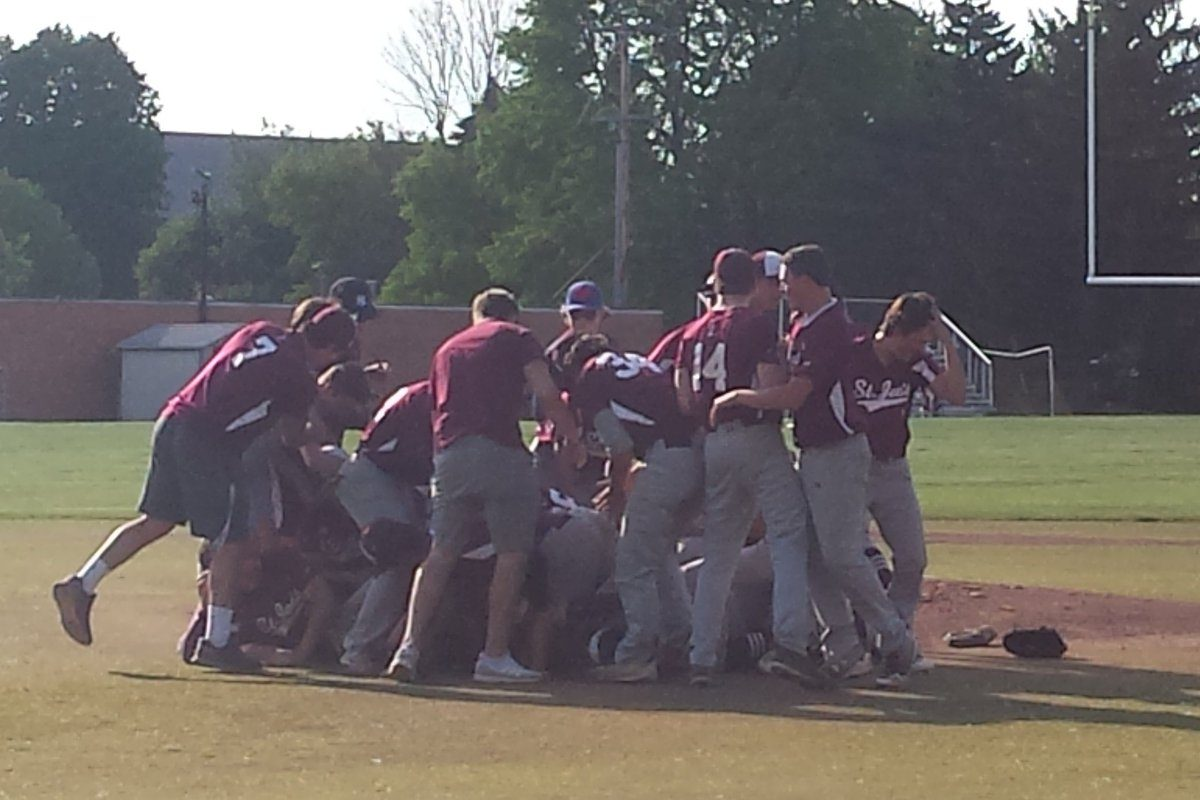 St. Joe's players celebrate after beating St. Mary's for the Georgetown Cup championship Thursday at St. Mary's of Lancaster High School.