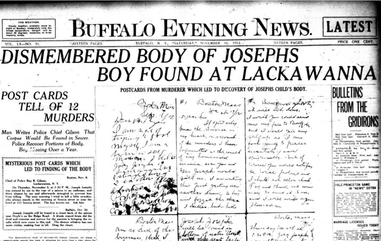 Photo from the November 16, 1912, edition of the Buffalo Evening News, featuring the outhouse where the remains of Joey Josephs were located by Lackawanna Police.