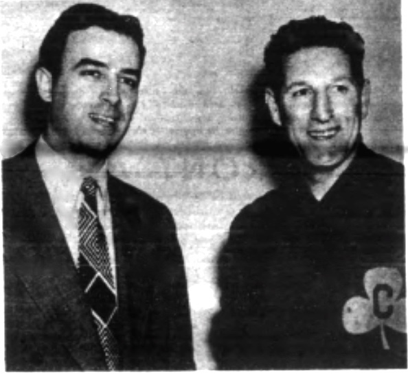Basketball pioneer Leo Ferris in Buffalo, 1946, with Nat Hickey - coach of the Bisons, which survive in the NBA as the Atlanta Hawks. Hickey, who kept playing deep into his 40s, is still believed to be the oldest man to ever play in a modern major league pro basketball game. (Family photo)