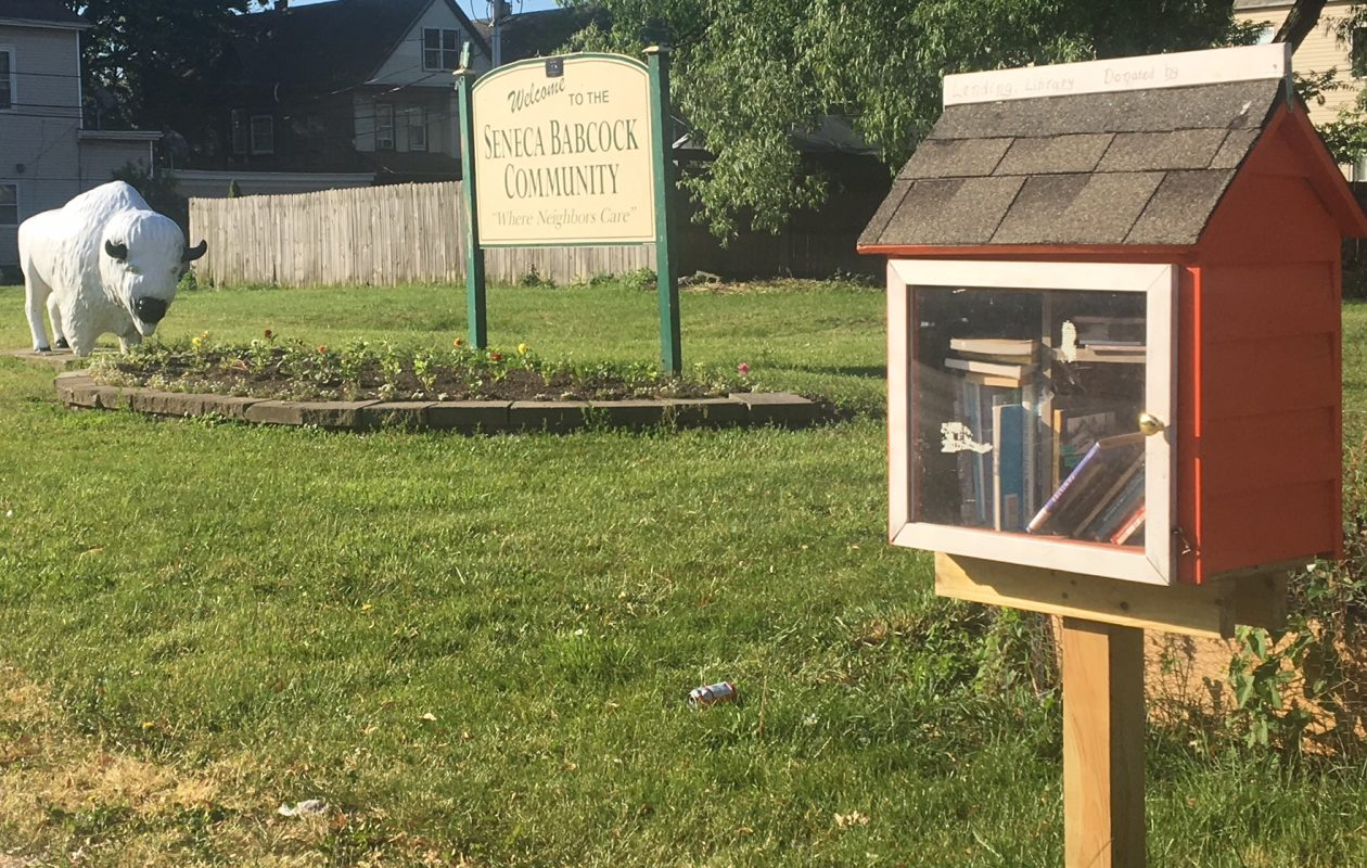 The dollhouse-looking structure on the right is one example of little libraries popping up in communities across the city.