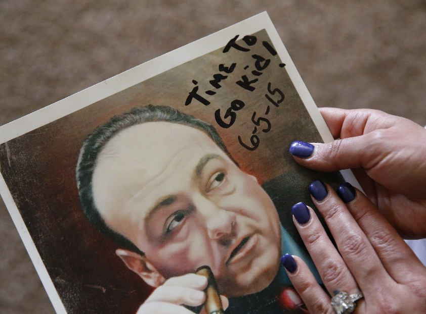 Killer Richard W. Matt's daughter thinks he was sending her a message with this inscription on his painting of 'Sopranos' star James Gandolfini  that included the date Matt escaped from the Clinton Correctional Facility.  (Sharon Cantillon/Buffalo News)