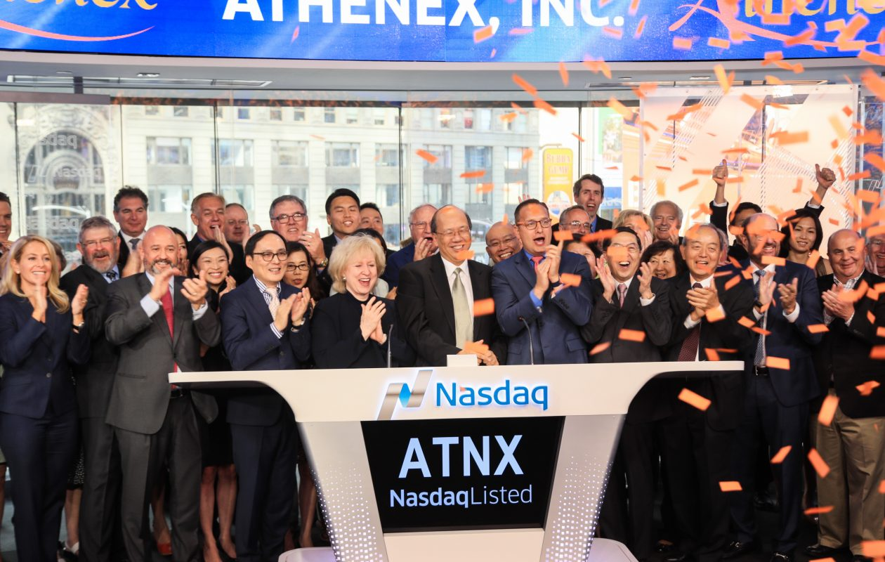 Johnson Y.N. Lau, Athenex's chairman and CEO, rang the closing bell at the Nasdaq's market site in Times Square in New York City on Wednesday afternoon. (Photo Courtesy Nasdaq)