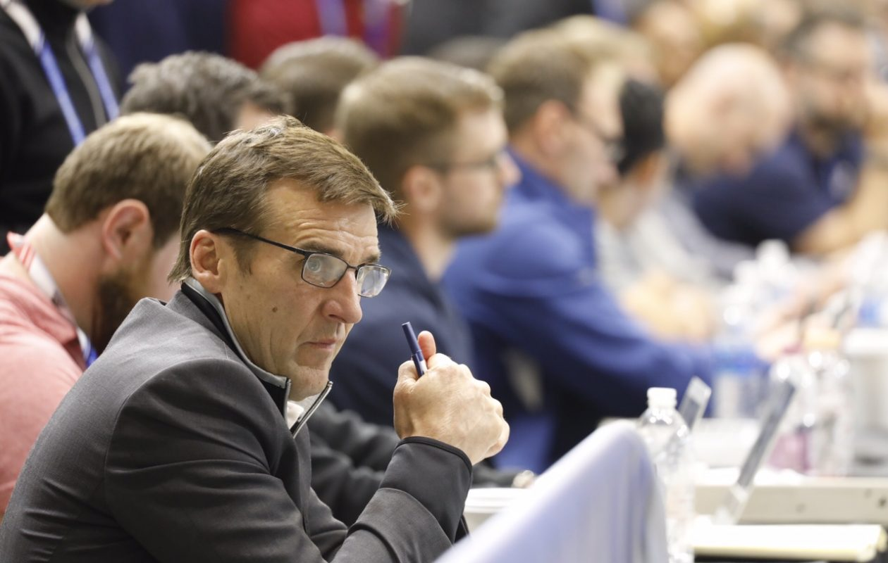 Vegas General Manager George McPhee will draft a lot of the prospects he watched Saturday in HarborCenter. (Derek Gee/Buffalo News)