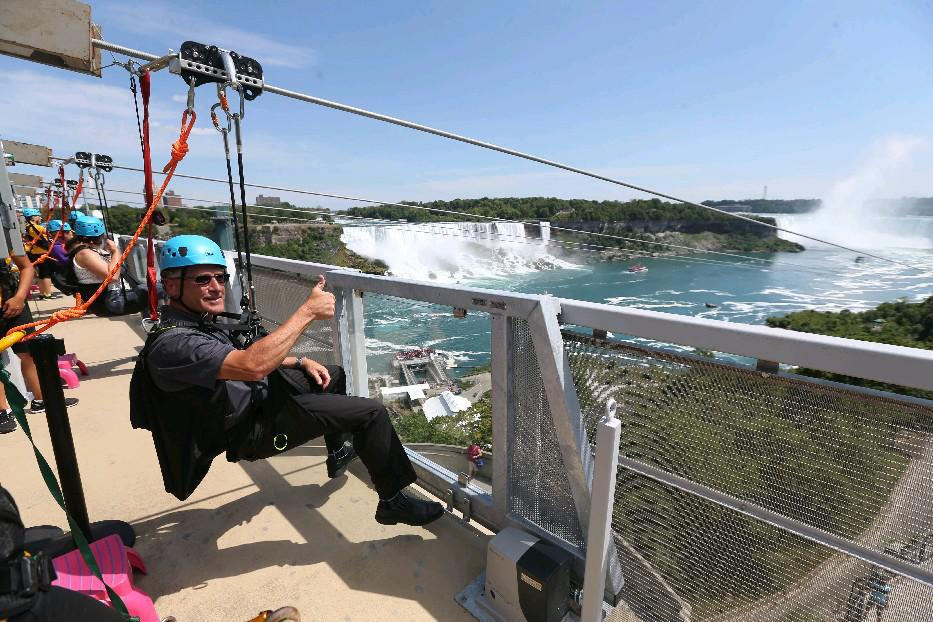 WildPlay follows the opening last July of the MistRider to the Falls Zipline from the Sir Adam Beck Generating Station to Table Rock. Rich Merlano is among those who enjoyed the first attraction last summer. (Sharon Cantillon/Buffalo News file photo)