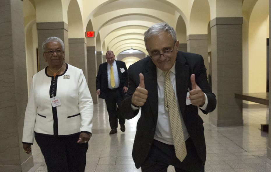 Carl Paladino reacts during a break in testimony Monday as he and School Board President Barbara A. Seals Nevergold, who is leading the effort to have him removed, leave the hearing room. (Mike Groll/Special to The News)