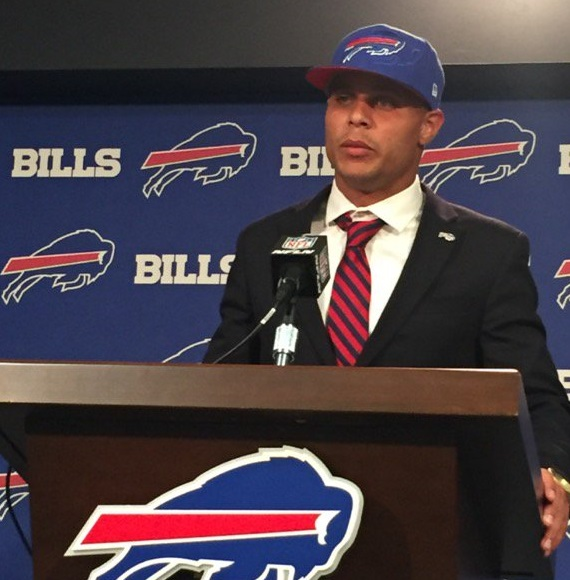 Safety Jordan Poyer meeting with reporters after signing with the Bills in March. (Vic Carucci/Buffalo News)