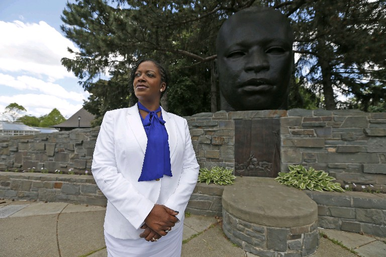 Mayoral candidate Taniqua Simmons helped organize a rally in Martin Luther King Jr. Park to protest police shootings of black men. Now she wants to fight the stigma associated with mental illness, which has affected her son. (Robert Kirkham/Buffalo News)