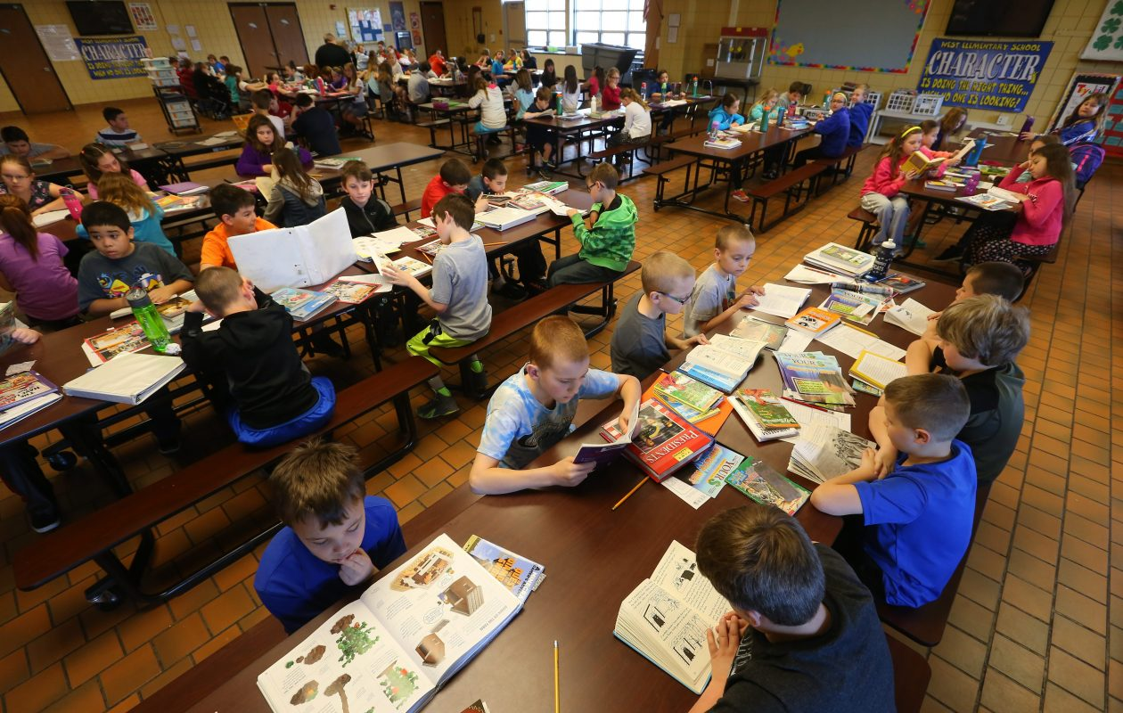 Students opting out of state testing filled the cafeteria at West Elementary in West Seneca in 2015. The numbers of students opting out are decreasing. (Mark Mulville/Buffalo News file photo)