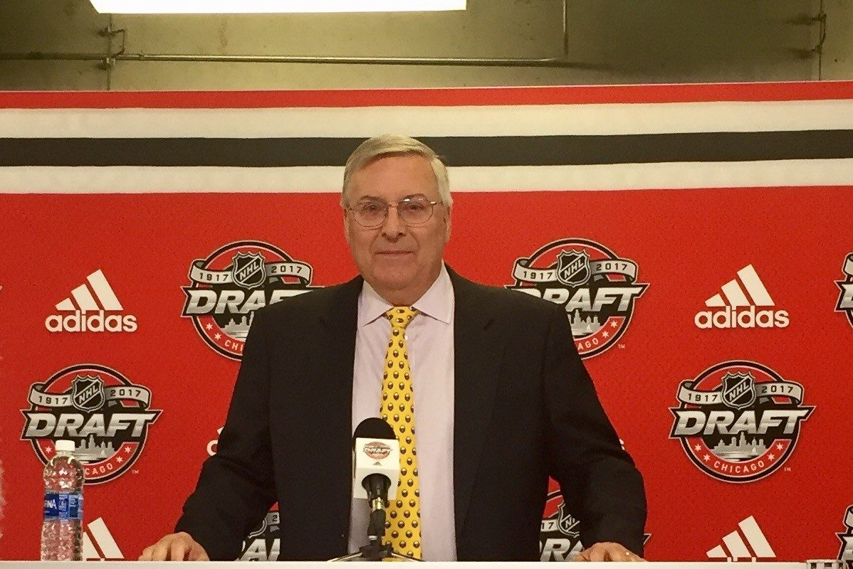 Sabres owner Terry Pegula helps announce a Division I funding program Friday. (John Vogl/Buffalo News)