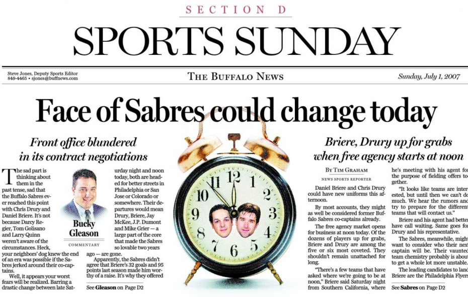 The top of the Buffalo News Sports cover from July 1, 2007.
