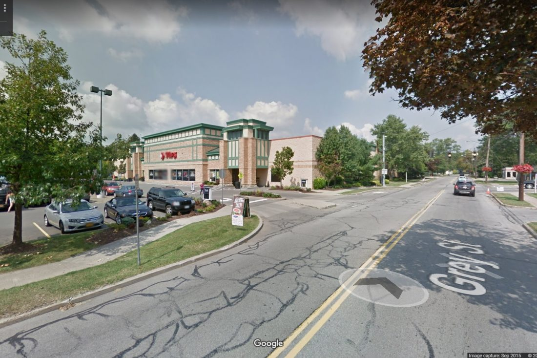 The woman was struck Sunday night in the Tops Markets parking lot off Grey Street. (Google Street View)