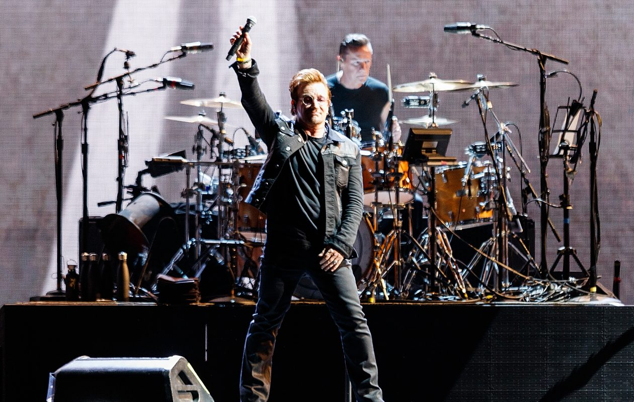 Bono and Larry Mullen Jr. of U2 perform during 'The Joshua Tree World Tour' at BC Place on May 12, 2017 in Vancouver, Canada.  (Getty Images)