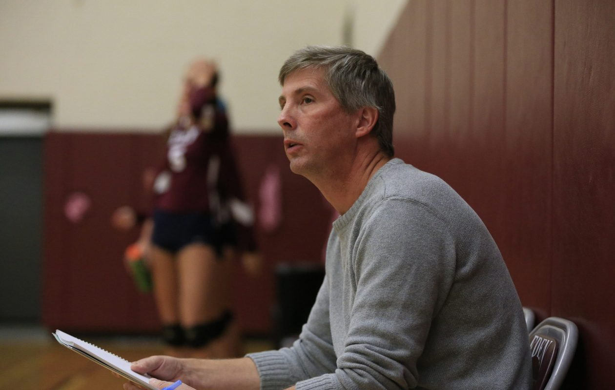 Longtime Eden girls volleyball coach Stephen Pierce was inducted to the Prep Talk Hall of Fame Wednesday evening. (Harry Scull Jr./Buffalo News)