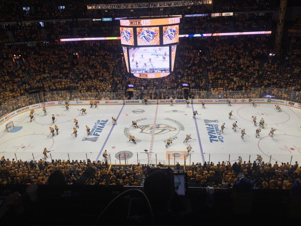 The Predators and Penguins prepare for Game Three in Bridgestone Arena (Mike Harrington/Buffalo News).