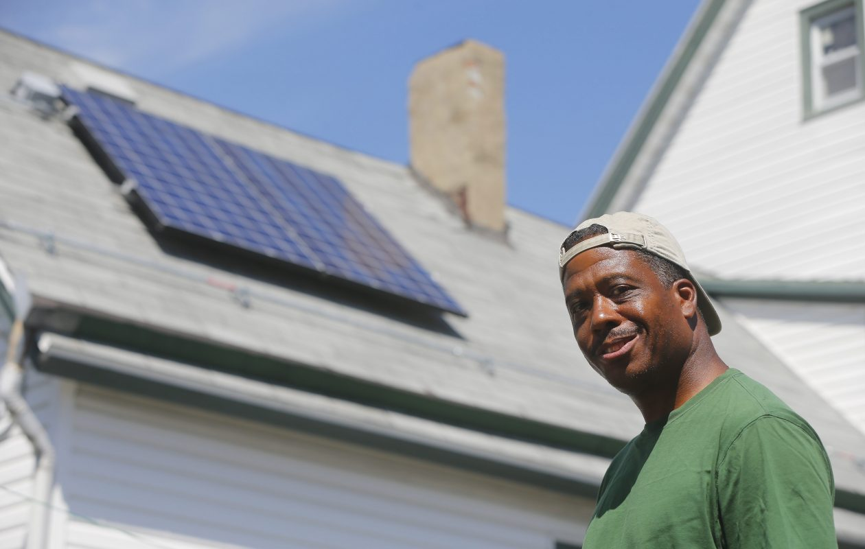 Schuyler Banks had solar panels installed on his Lemon Street home as part of National Grid's $3.7 million demonstration program. (Mark Mulville/News file photo)