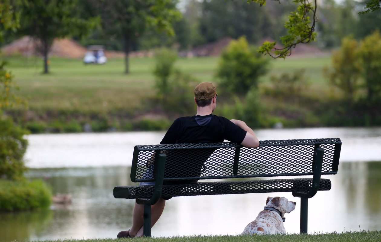 A man and his dog rest during a walk at Hyde Park in Niagara Falls, which will host a schedule of family events this summer.(Mark Mulville/Buffalo News file photo)