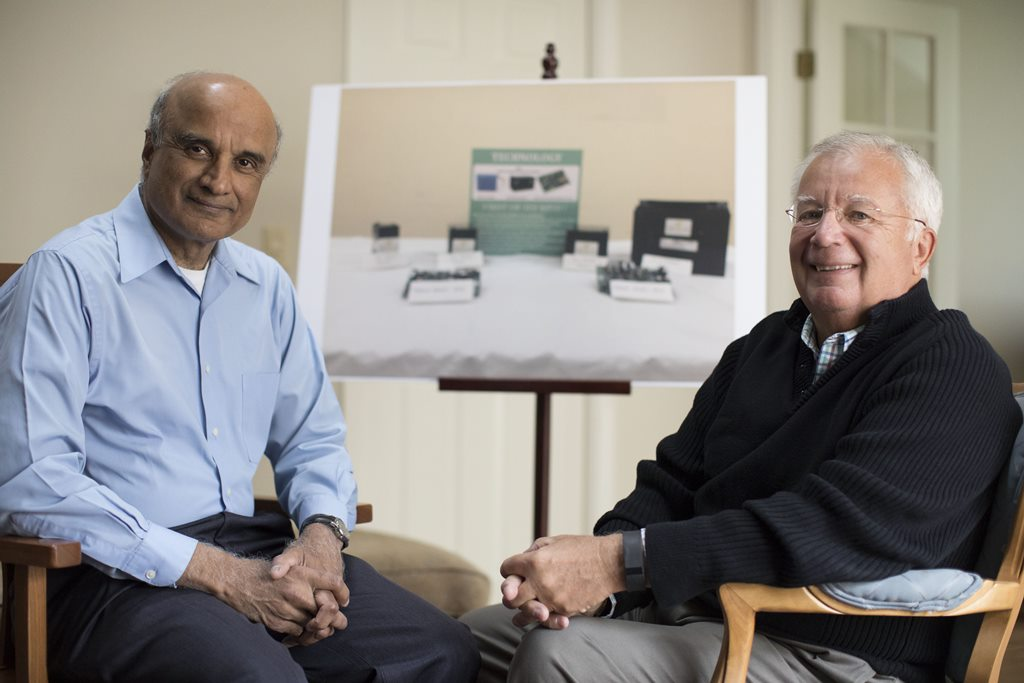 Kannankote Govindaraj, left, and Thomas Pleban co-founded a company called Mesha Energy Storage Solutions that is producing ultracapacitors for use in electric power storage in India.  (Derek Gee/Buffalo News)