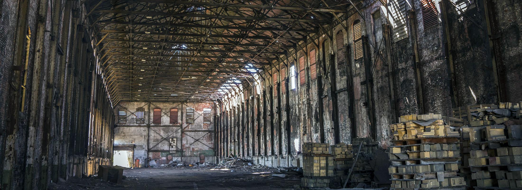 Inside the old blown engine house at the former Bethlehem Steel site in Lackawanna. (Derek Gee/Buffalo News)