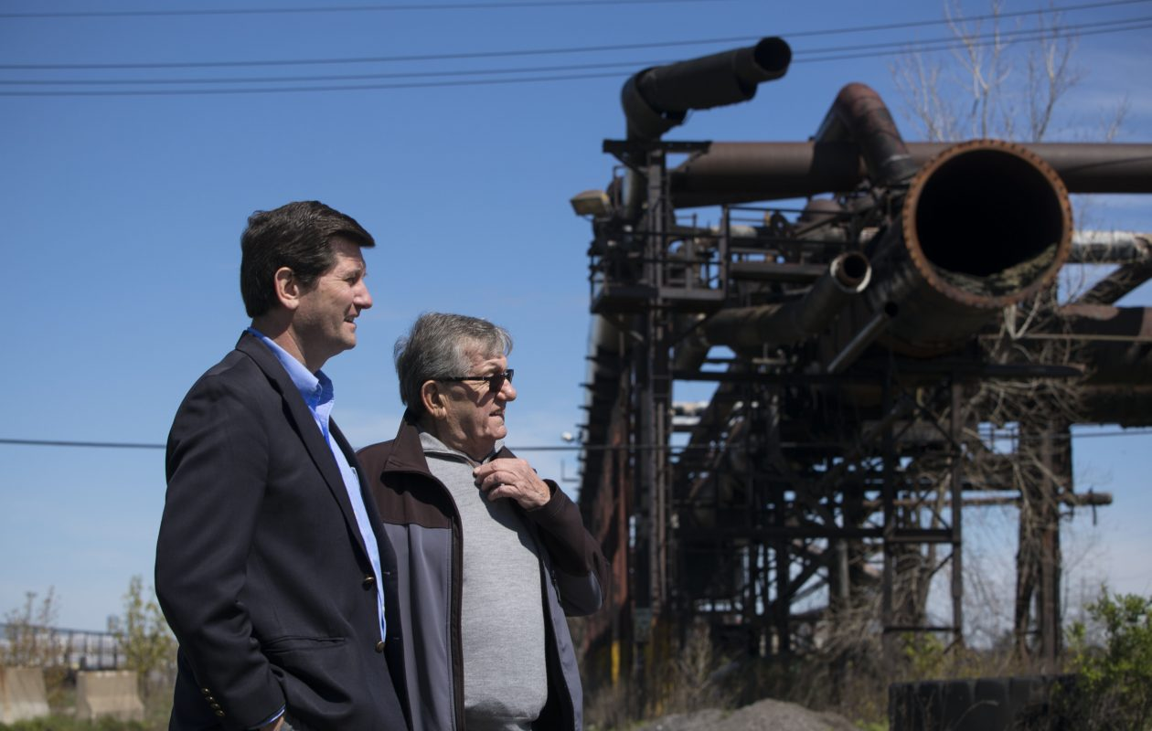 Erie County Executive Mark Poloncarz poses for a photograph with his father, Charles Poloncarz, who worked at the Bethelehem Steel Lackawanna plant for 38 years, during a tour of the site in May.  (Derek Gee/Buffalo News)