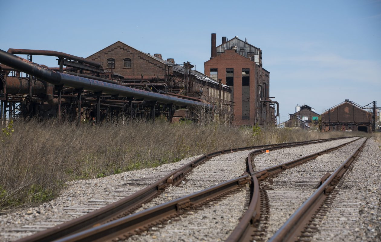 Newly rerouted train tracks on the former Bethelehem Steel site.  (Derek Gee/Buffalo News)