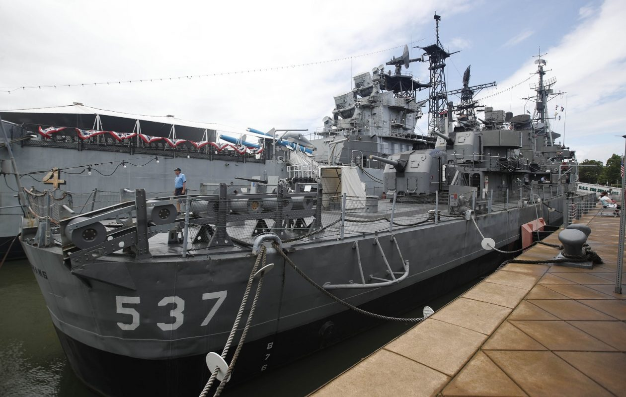 The USS The Sullivans is a destroyer named in memory of the five Sullivan brothers who lost their lives during the Battle of the Solomon Islands in WWII in the USS Juneau. (Sharon Cantillon/Buffalo News)