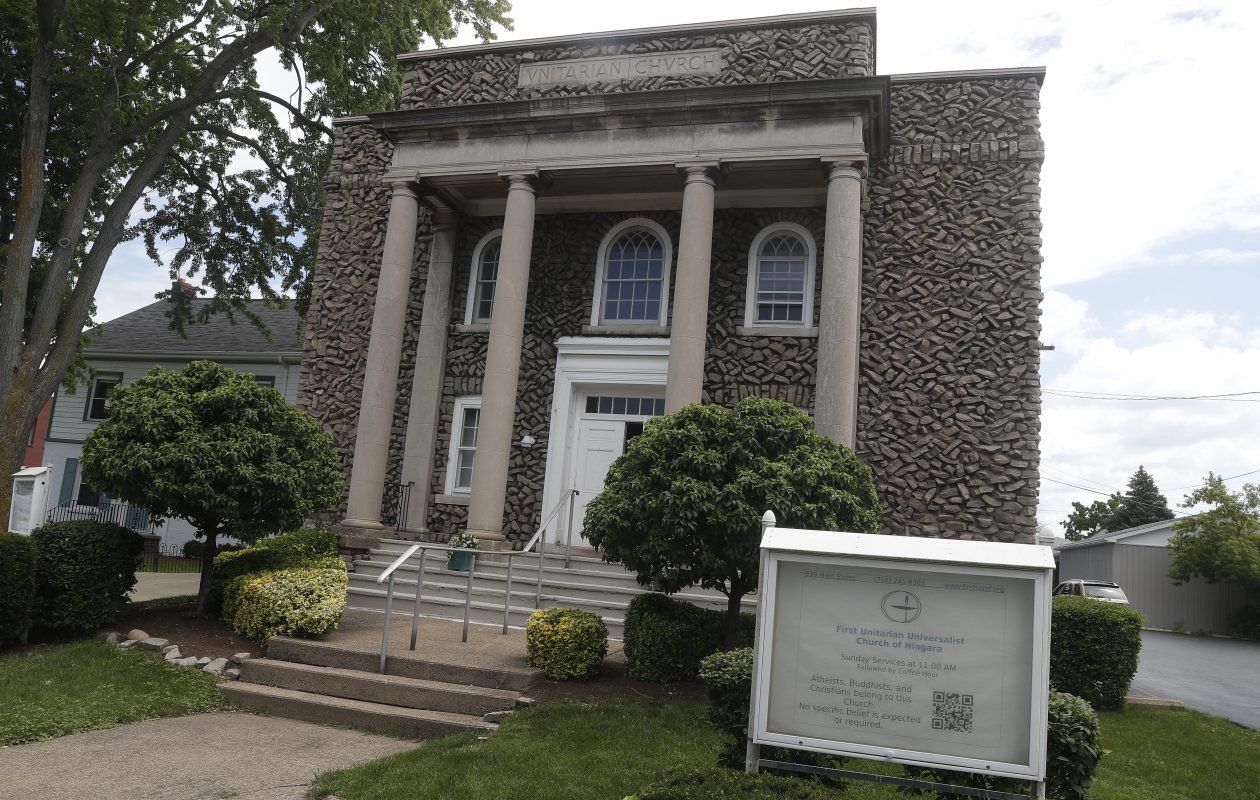 The First Unitarian Universalist Church of Niagara welcomes those of any faith -- or no faith -- to Sunday morning services in its striking Main Street building. Its 'Free Thinkers Sundays' help those who attend align their moral compass, said one member.  (John Hickey/Buffalo News)
