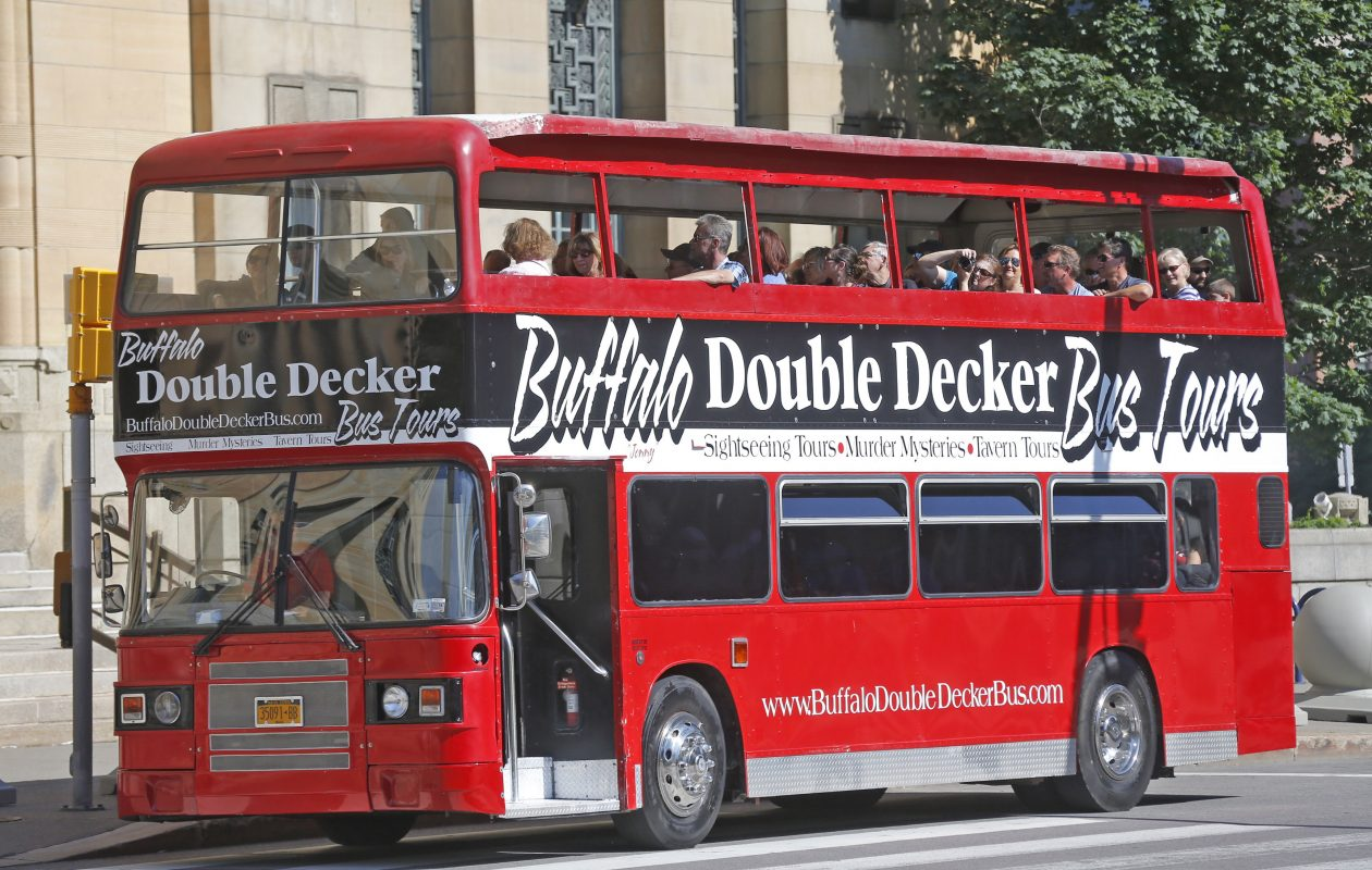 A double decker bus will offer tours to visitors around Buffalo this summer.   (Robert Kirkham/Buffalo News)