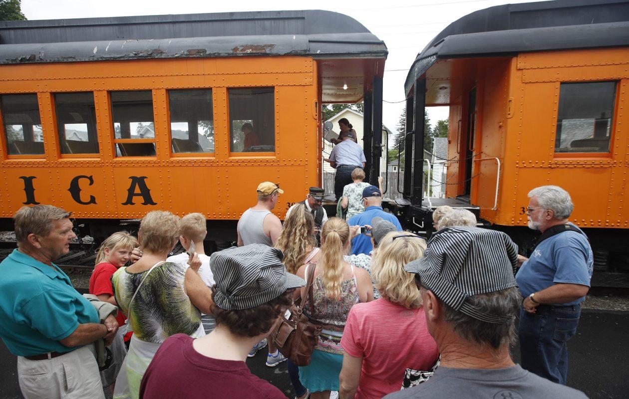 Passengers enter the train on the Arcade & Attica Railroad. (Sharon Cantillon/Buffalo News)