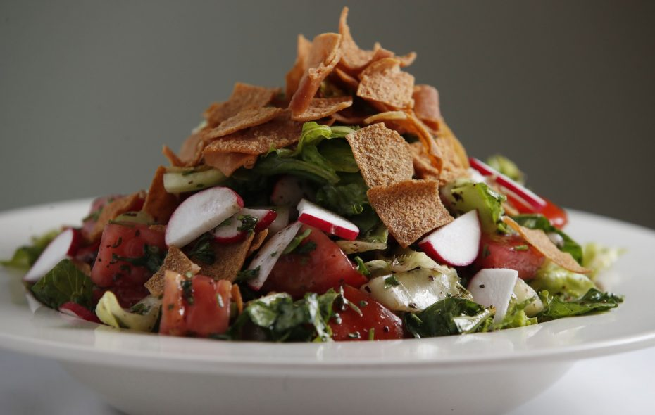 The 755 Restaurant Restaurant & Lounge's fatoush is made with romaine, parsley, cucumbers, tomatoes, radishes, sumac, mint and topped with fried pita. (Sharon Cantillon/Buffalo News)