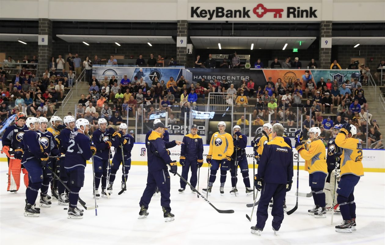 Tuesday's 3-on-3 tournament at Sabres development camp will use the full ice for a change. (Harry Scull Jr./The Buffalo News)
