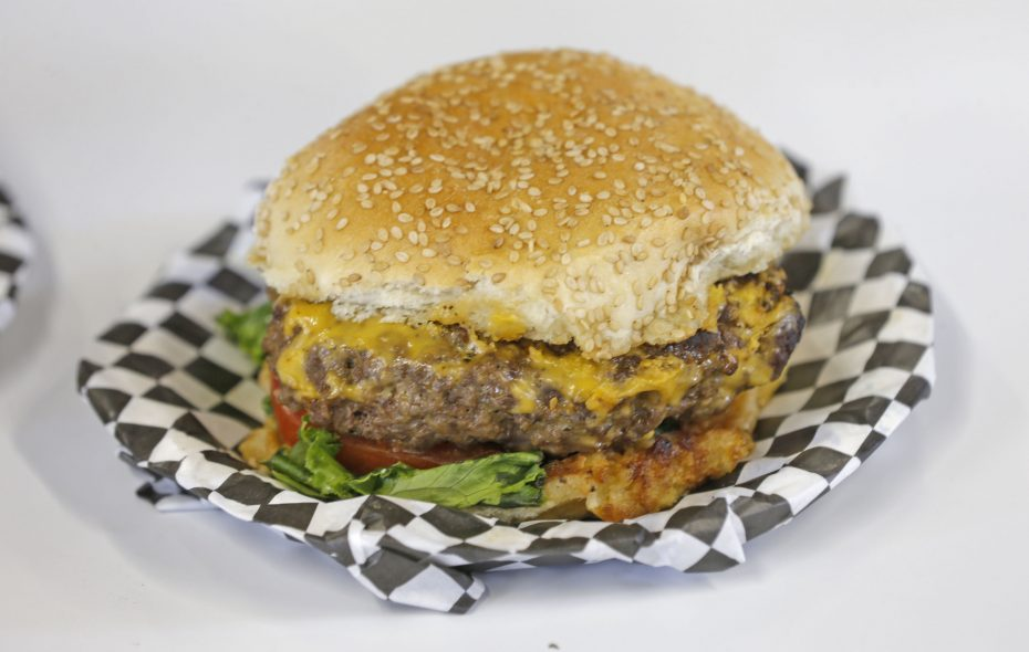 The 1885-inspired angus burger with brown sugar and coffee grounds with a surprise added spice twist this year from Weidner's BBQ. (Robert Kirkham/Buffalo News)