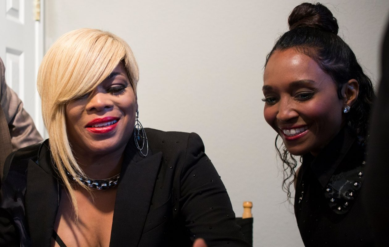 TLC members Tionne Watkins and Rozonda 'Chilli' Thomas hang out after performing on 'Dancing with the Stars' at CBS Television City in Los Angeles, Calif., on Tuesday, May 23, 2017. (Jenna Schoenefeld/Special to The News)
