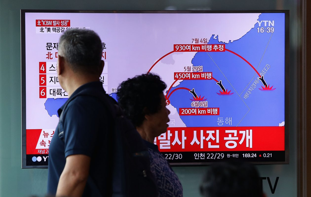 People watch a television broadcast reporting the North Korean missile launch at the Seoul Railway Station on July 4, 2017 in Seoul, South Korea. North Korea fired an unidentified ballistic missile on Tuesday from a location near the North's border with China into waters at Japan's exclusive economic zone, east of the Korean Peninsula, according to reports. The latest launch have drawn strong criticism from the U.S. and came ahead of a summit of leaders from the Group of 20 countries in Germany later this week.  (Photo by Chung Sung-Jun/Getty Images)