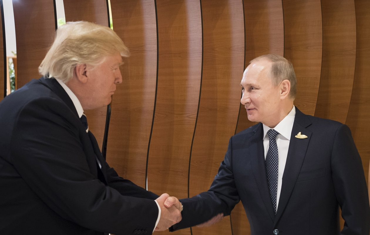 In this photo provided by the German Government Press Office (BPA) President Donald Trump, President meets Russian President Vladimir Putin at the opening of the G20 summit on July 7, 2017 in Hamburg, Germany. The G20 group of nations are meeting July 7-8 and major topics will include climate change and migration.  (Photo by Steffen Kugler /BPA via Getty Images) *** BESTPIX ***