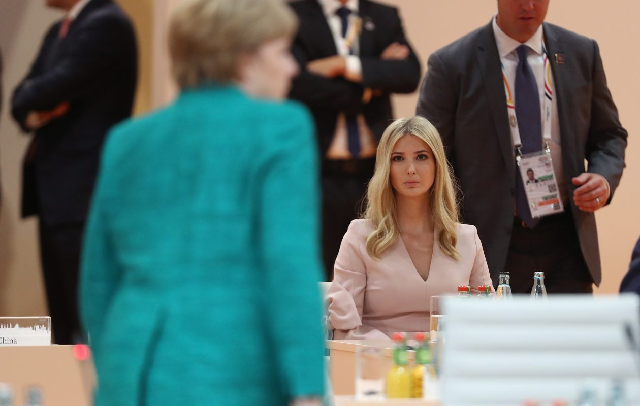 Ivanka Trump looks on as German Chancellor Angela Merkel arrives for the morning working session on the second day of the G20 economic summit  Saturday in Hamburg, Germany. (Getty Images)
