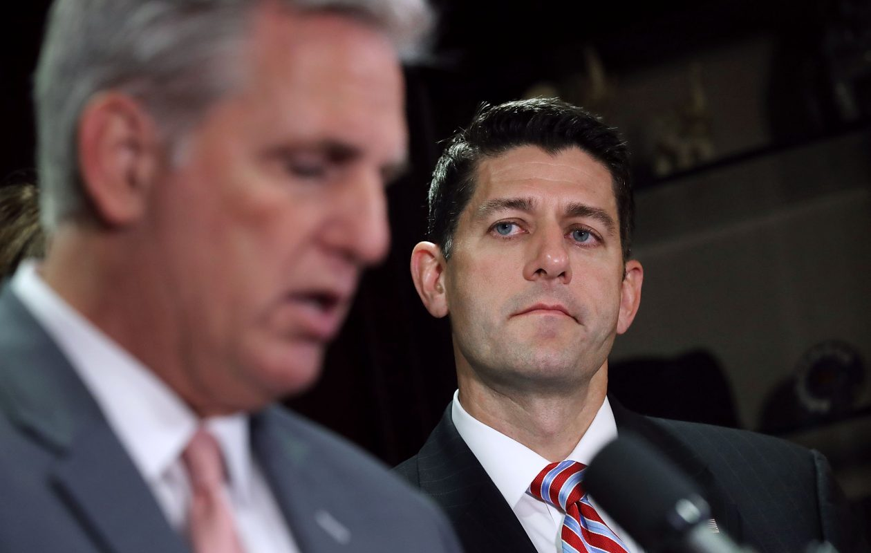 House Majority Leader Kevin McCarthy,left, and Speaker of the House Paul Ryan (R-WI) talk to reporters following the weekly House GOP Conference meeting at the Republican National Committee headquarters on Capitol Hill Tuesday. (Getty Images)