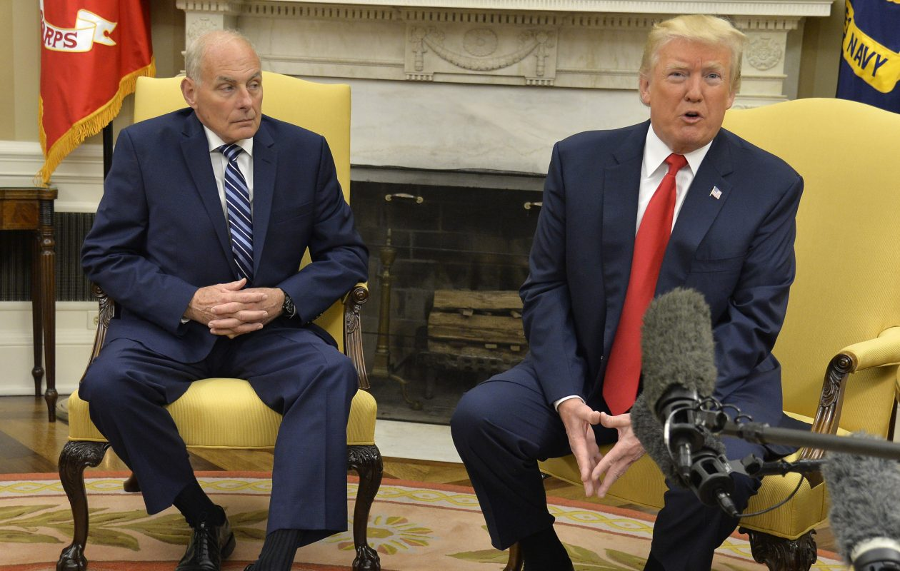 John Kelly, left, and  President Trump after  Kelly was sworn in as Trump's new chief of staff Monday, J.uly 31, 2017 in Washington, D.C. (Getty Images)