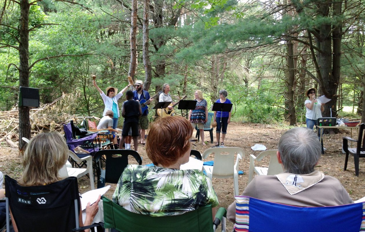 The Pathways Christian Fellowship is East Aurora holds an outdoor service once each summer.