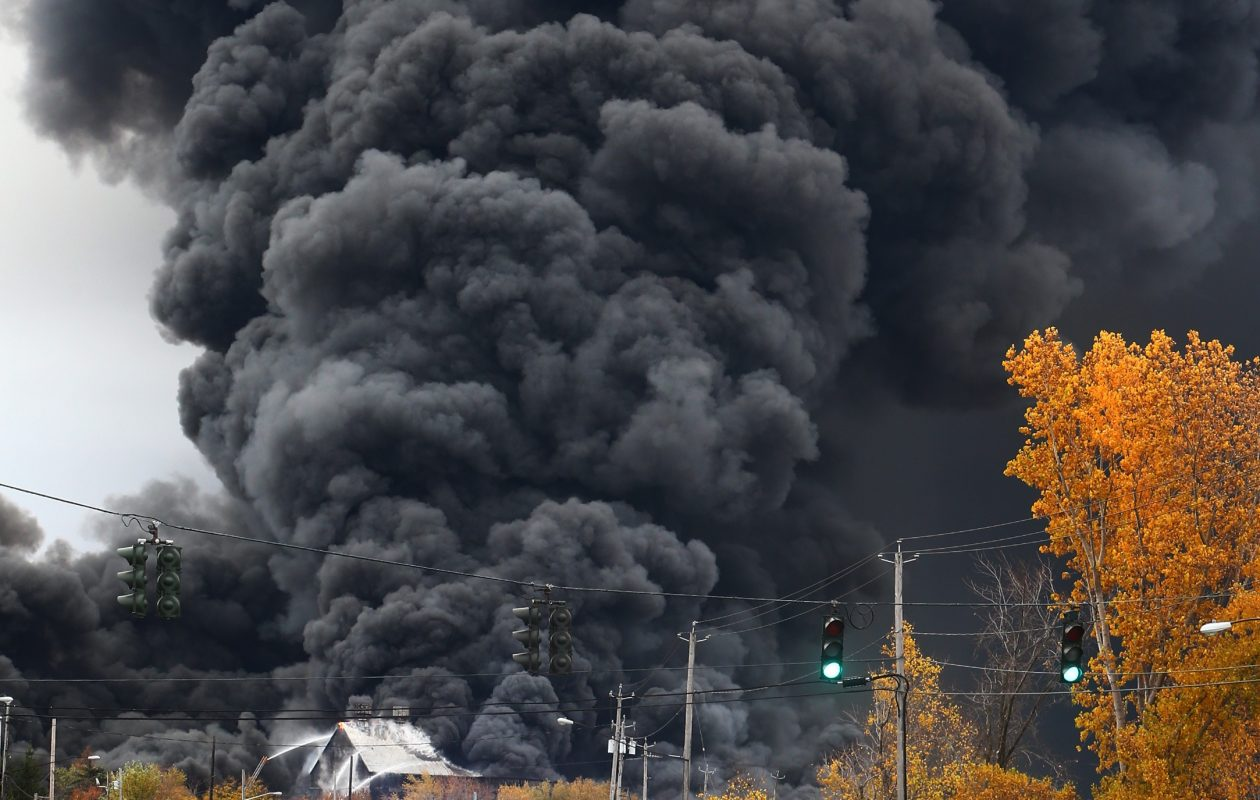 A fire rages at the former Bethlehem Steel plant site along Route 5 in  Lackawanna, N.Y., on  Nov. 7, 2016. (John Hickey/Buffalo News)