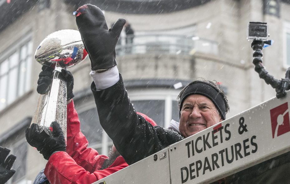 Bill Belichick promptly went from celebrating a fifth Patriots Super Bowl win to reloading for a sixth Lombardi Trophy. (Photo by Billie Weiss/Getty Images)