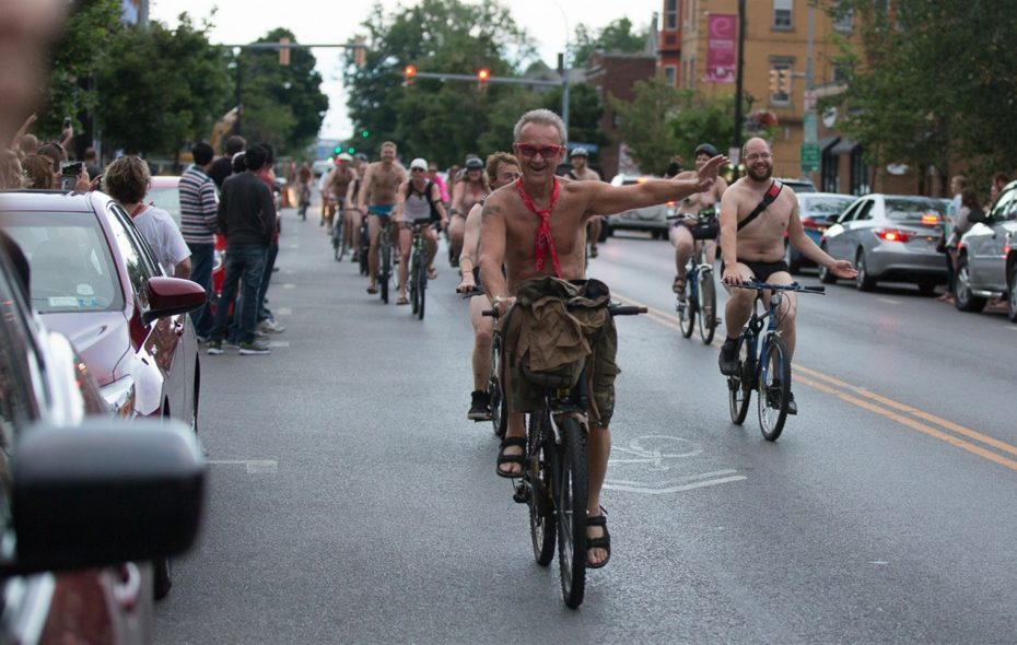 The World Naked Bike Ride came down Elmwood Avenue in 2016. (Chuck Alaimo/Special to The News)